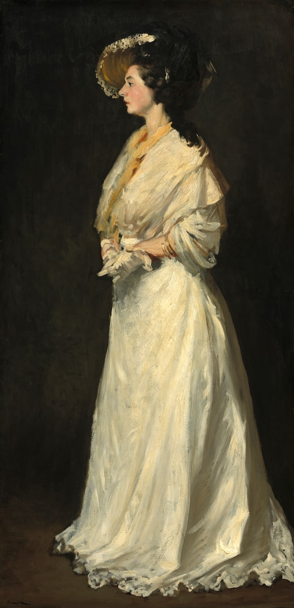 Robert Henri, Young Woman in white clothing painting