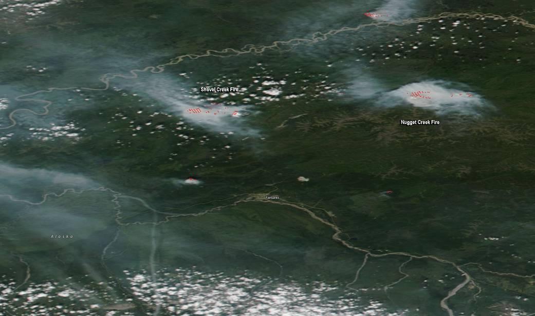 MODIS visible image showing the smoke and fires near Fairbanks Alaska on June 27, 2019