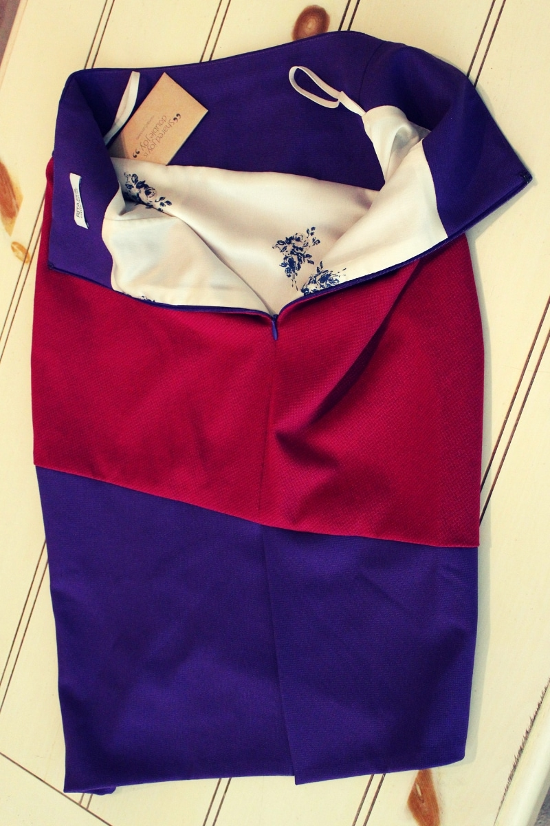 details of the Rita Phil custom-made diagonal color blocked Madison