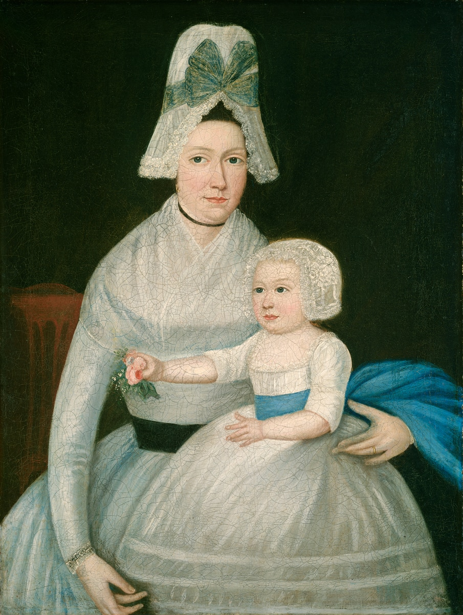 American Mother and Child in White 1790 painting oil on canvas