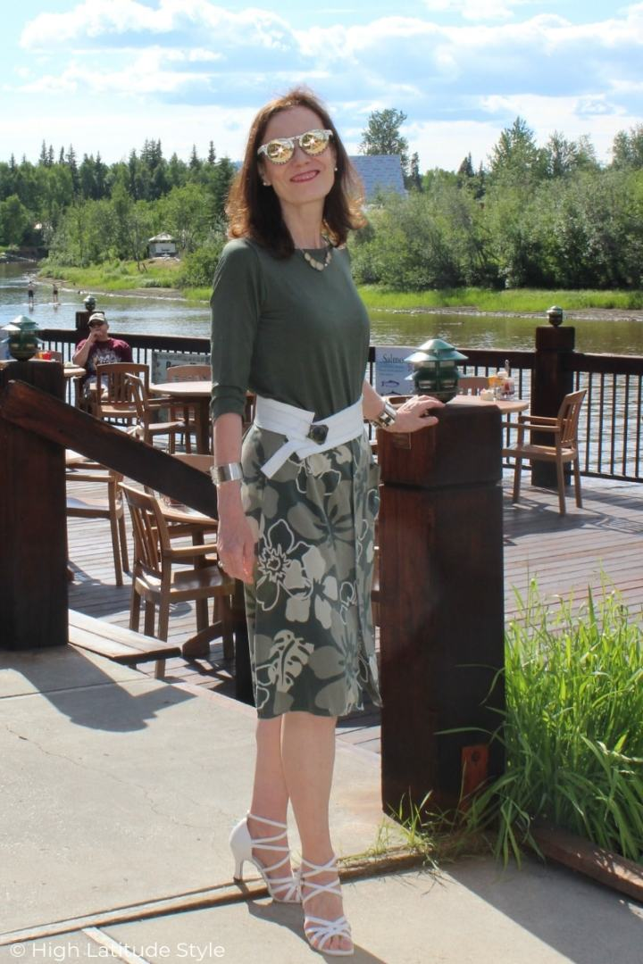 Nicole of High Latitude Style modeling a Covered Perfectly boat-neck top with midi skirt all neutrals weekend look