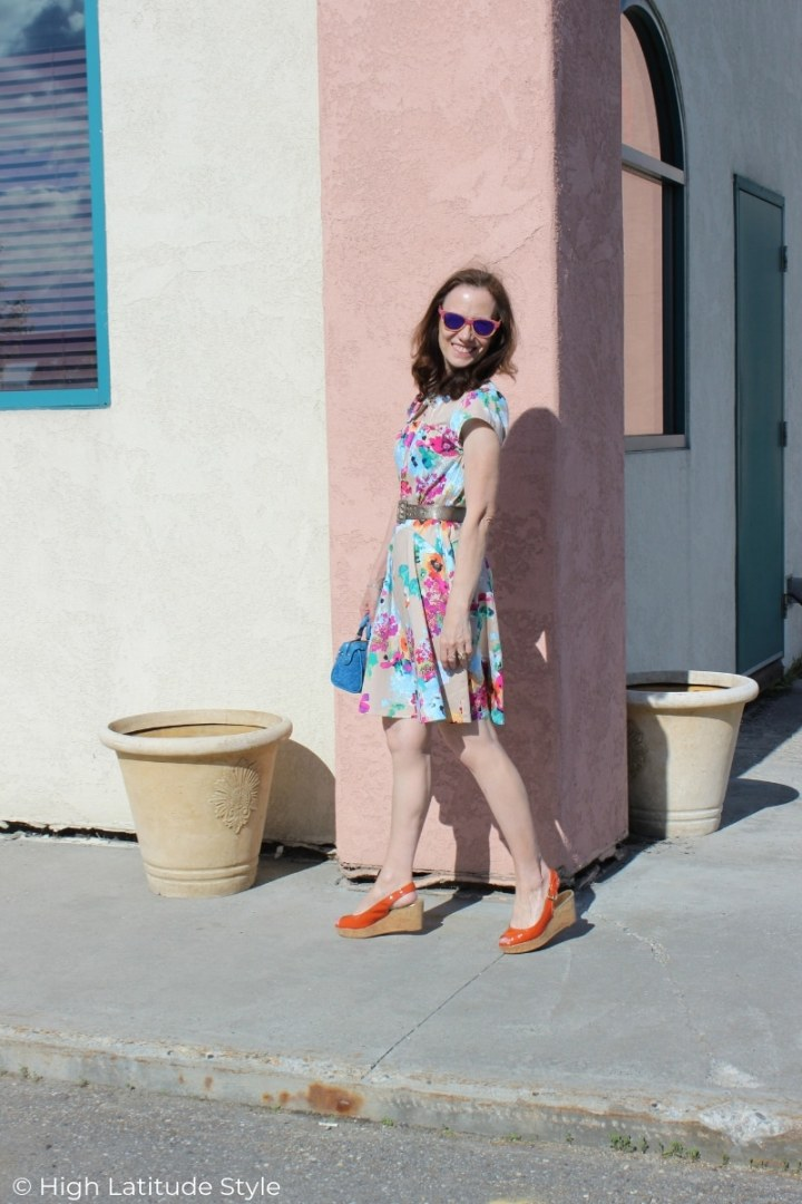 Nicole of High Latitude Style in a summer outfit walking on the sidewalk in Fairbanks Alaska