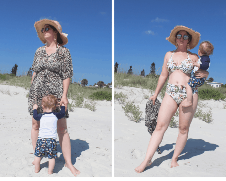 Top of the World Style Winner Stephanie of Glamerous and Geeky in swimwear and coverup with her kid on the beach