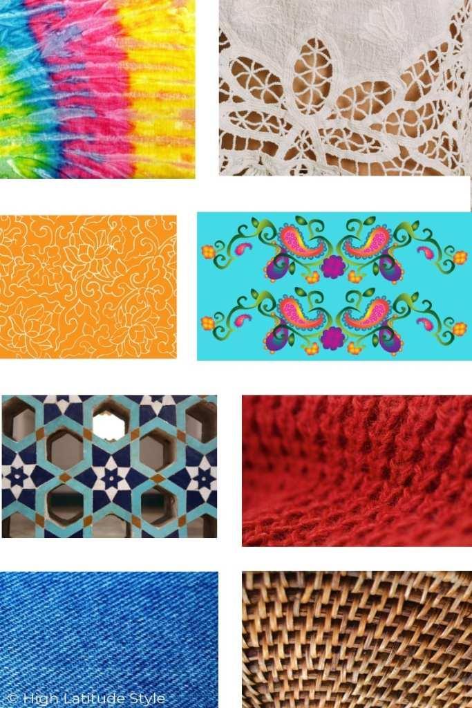 Bohemian prints, pattern, materials