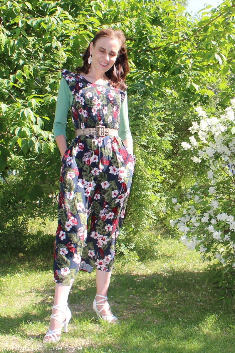 fashion blogger in Hawaiian floral print inspired jumpsuit