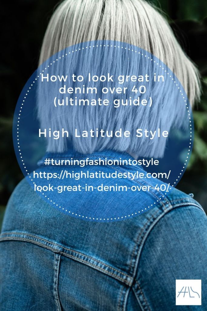 flyer how to look great in denim over 40 showing gray hair woman in jeans jacket