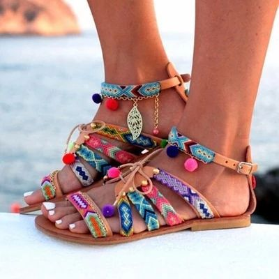 ikat pattern gladiator sandals with charms