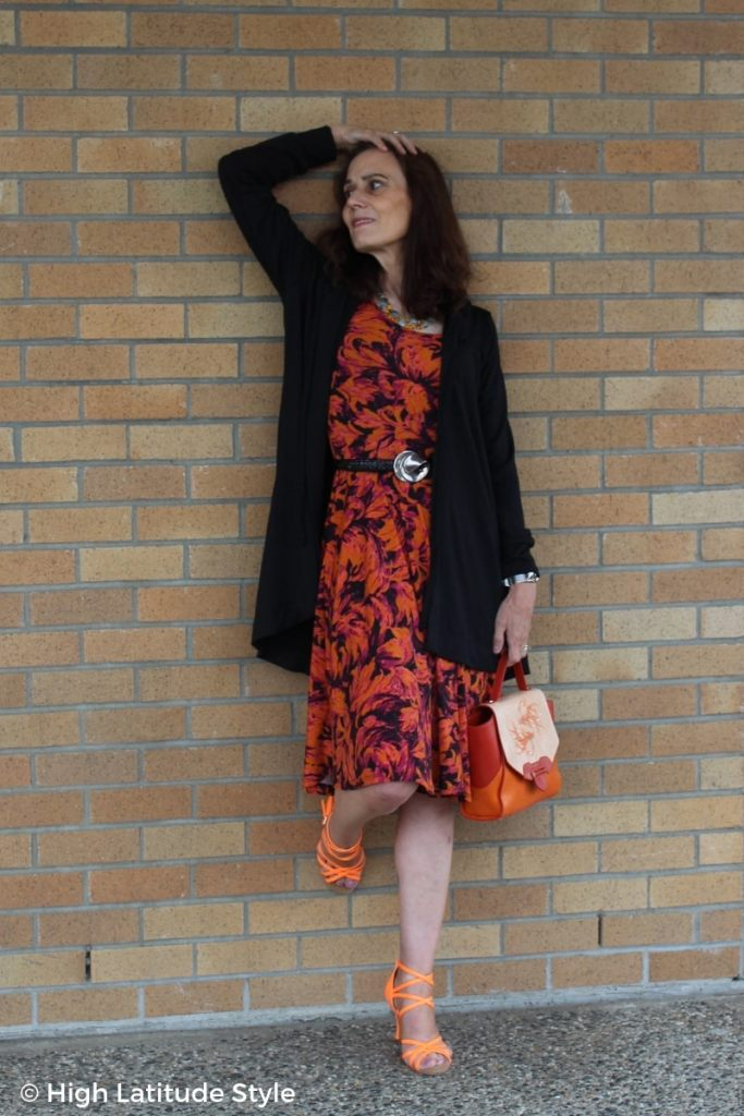 over 50 years old style blogger with a galaxy print fit-and-flare dress
