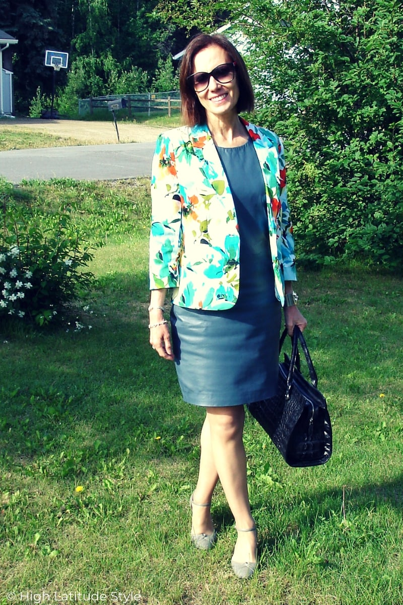 mature blogger in leather sheath with colorful blazer fall office look