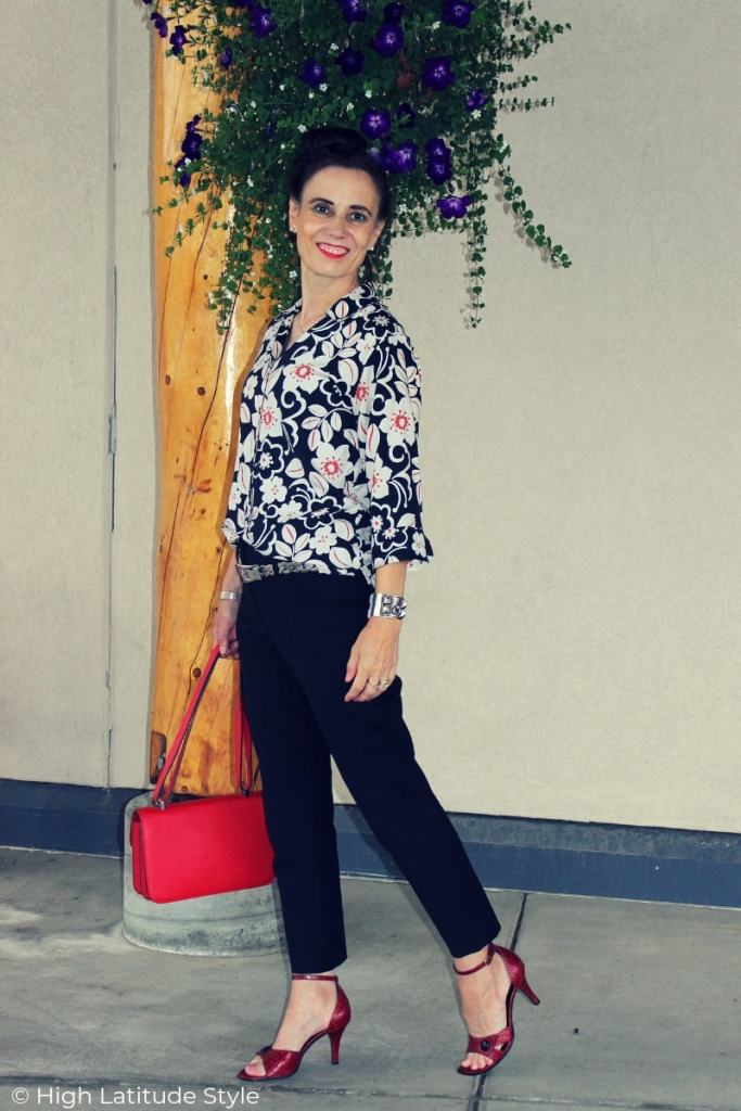 Nicole of High Latitude Style in a Hawaiian shirt, cropped trousers Casual Friday look in July