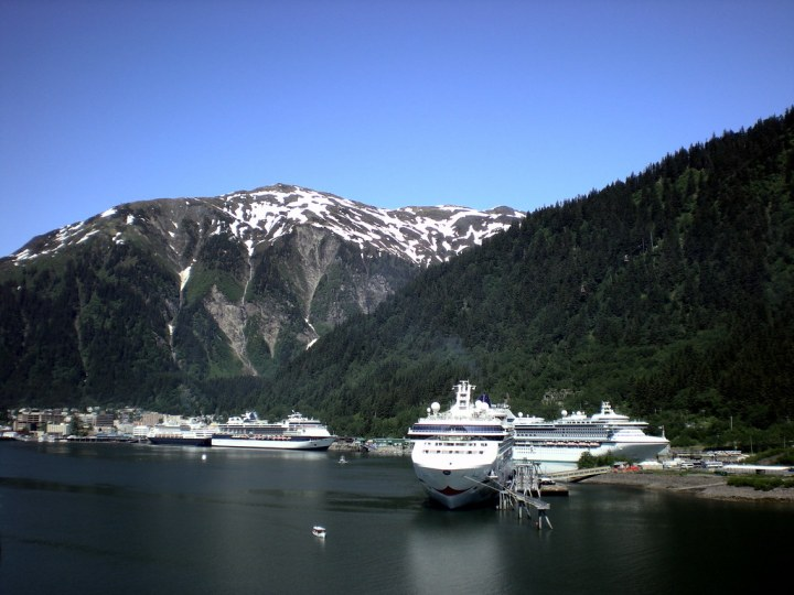 "cruise ships ""Parked in Juneau"" by Kevin H. is licensed under CC BY-NC-ND 2.0"