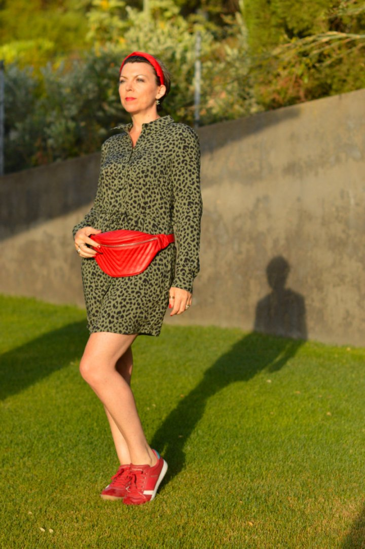 Top of the World OOTD My Fav Suzy Turner in olive leopard print shirt dress with red accessories