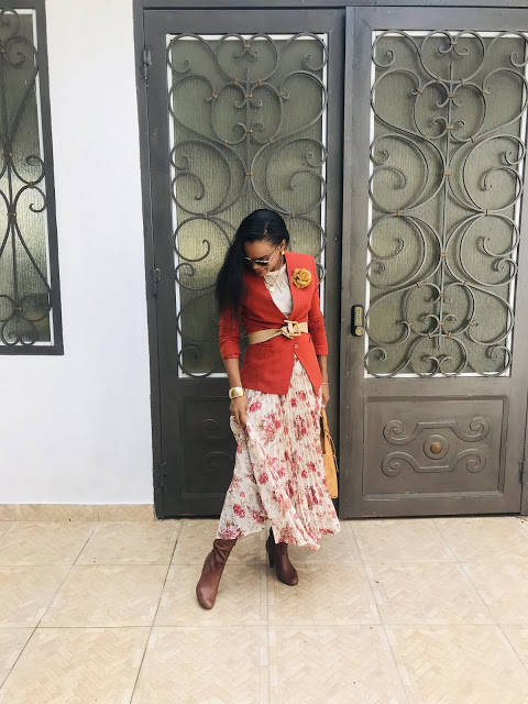 Top of the World OOTD My Fav Duhamel in floral skirt with burnt orange blazer and belt