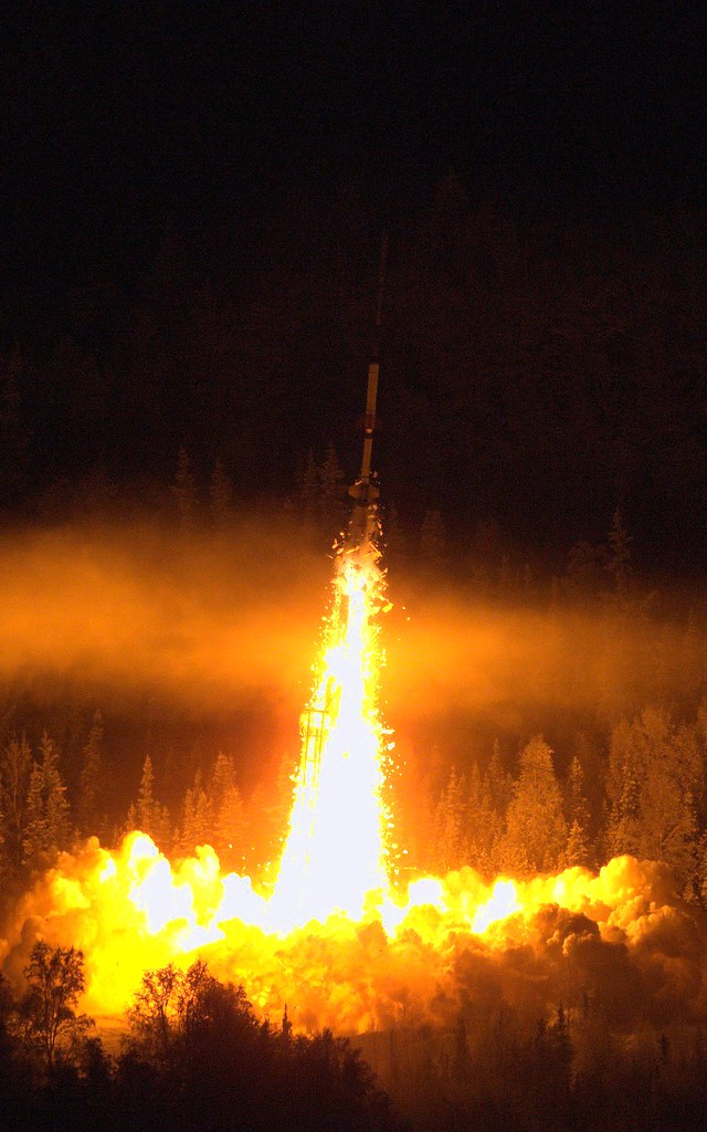 """Sounding Rocket Night Launch"" by sjrankin is licensed under CC BY-NC 2.0"