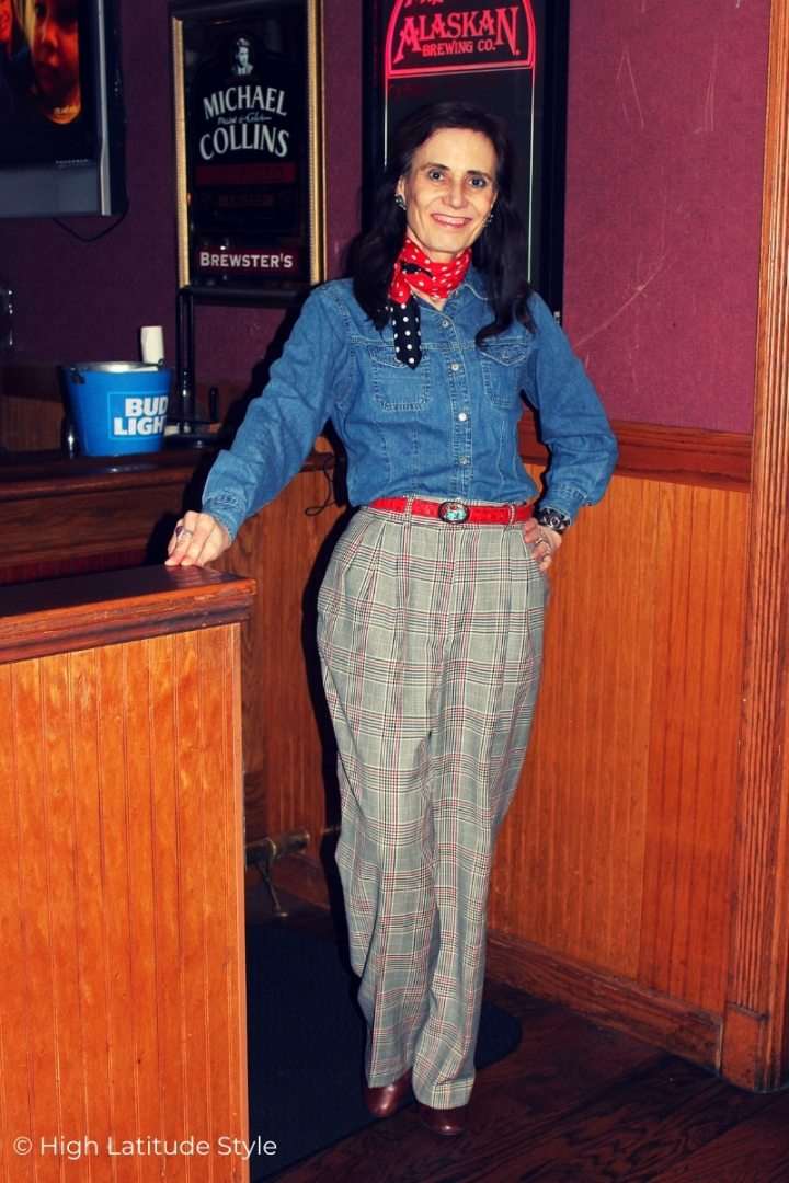style blogger in pants and denim press button shirt with belt and scarf