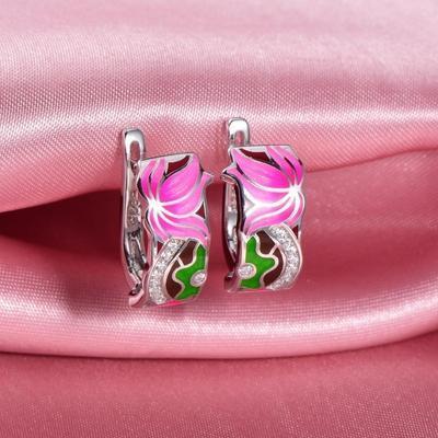 Leafy Soul enamel lotus flower Sterling silver earring