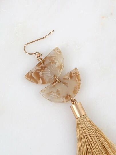 Shein Marble Detail Tassel Earrings