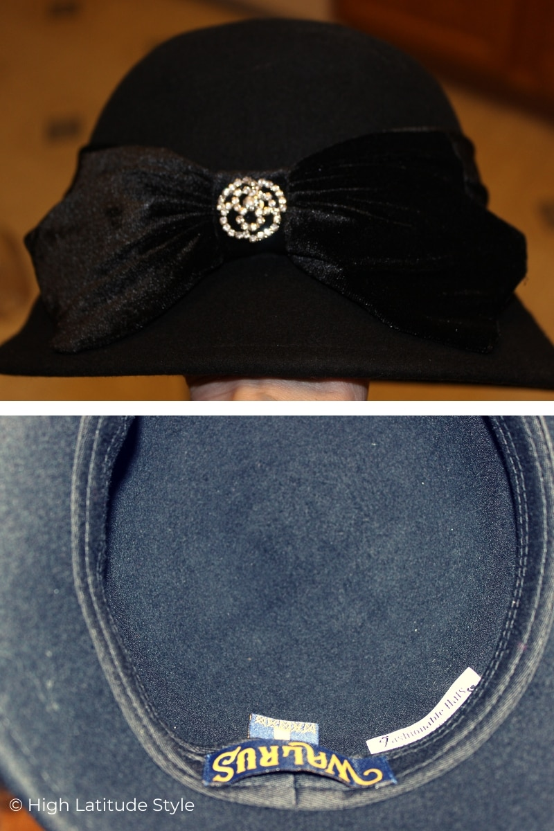 cloche velvet band and bow, crystal brooch and sweat band