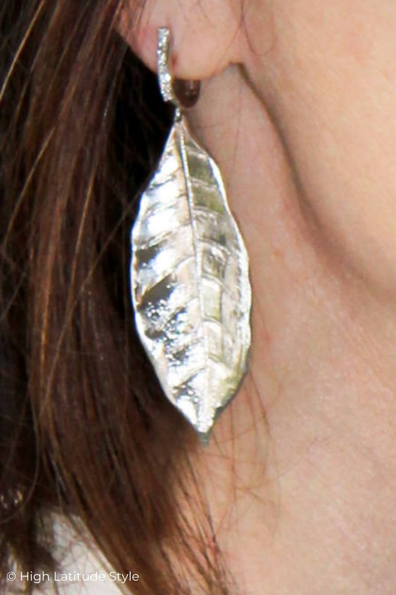 Sterling silver leaf earring with diamante details