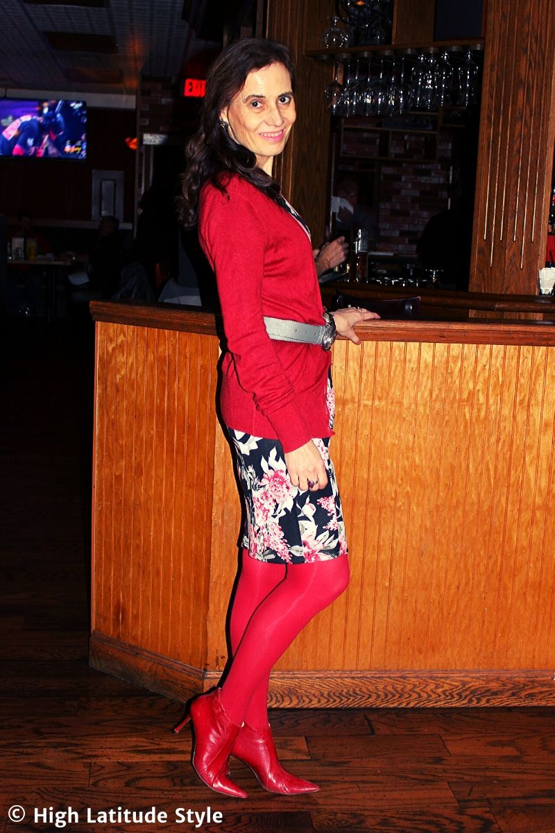 style book author in fall outfit in red, pink, white, gray and black