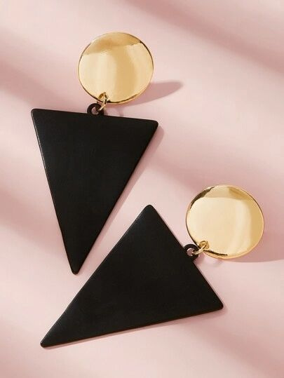 Shein Two Tone Geometric Drop Earrings
