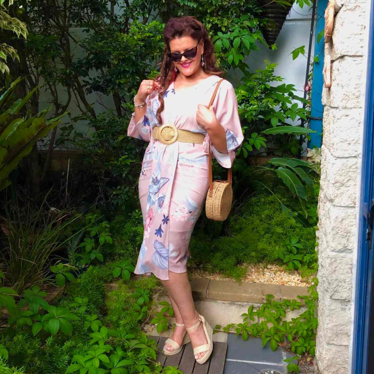 Top of the World OOTD My Fav Donna Does Dresses in romantic feminine light pink floral wrap dress
