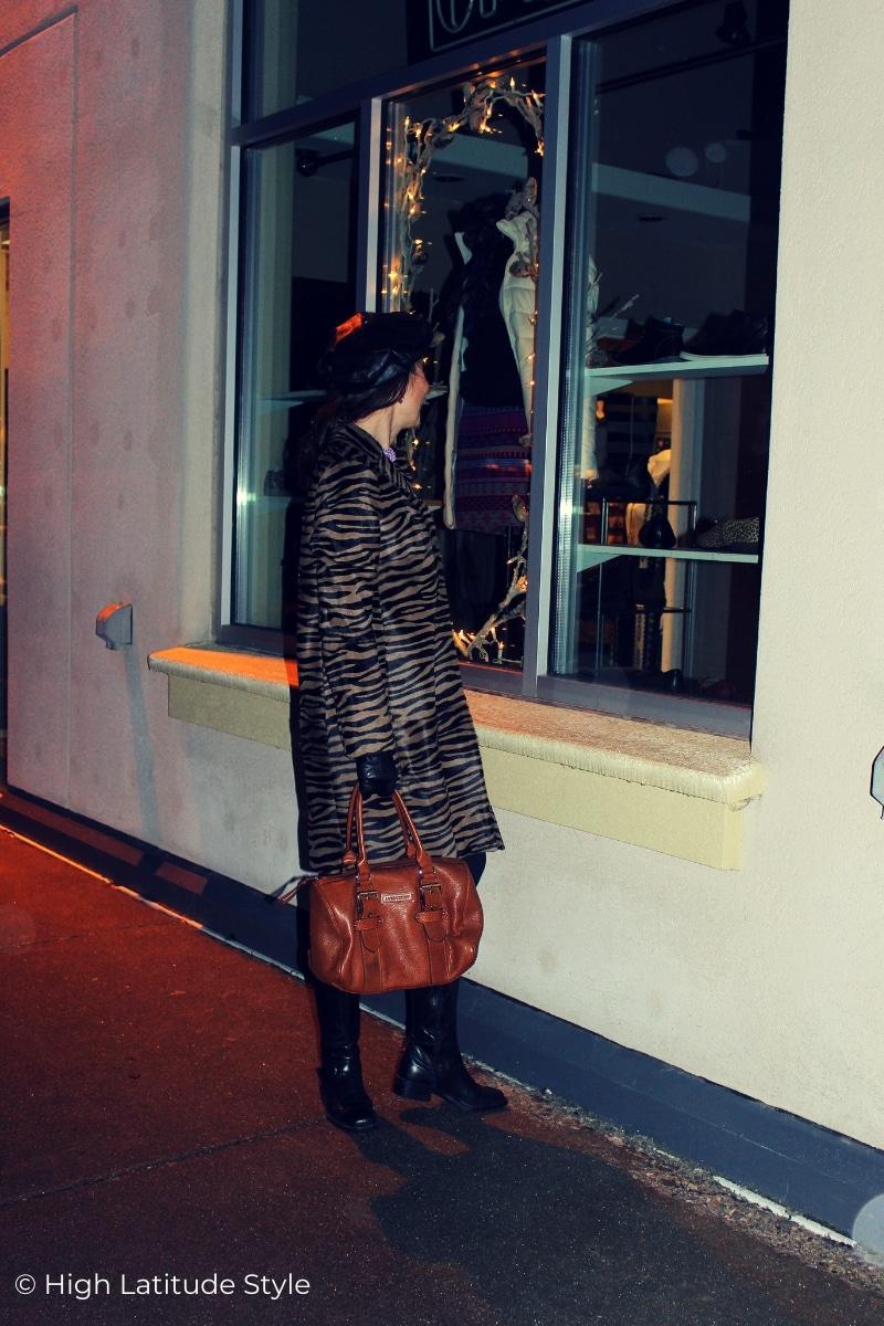 stylist donning a zebra print winter coat