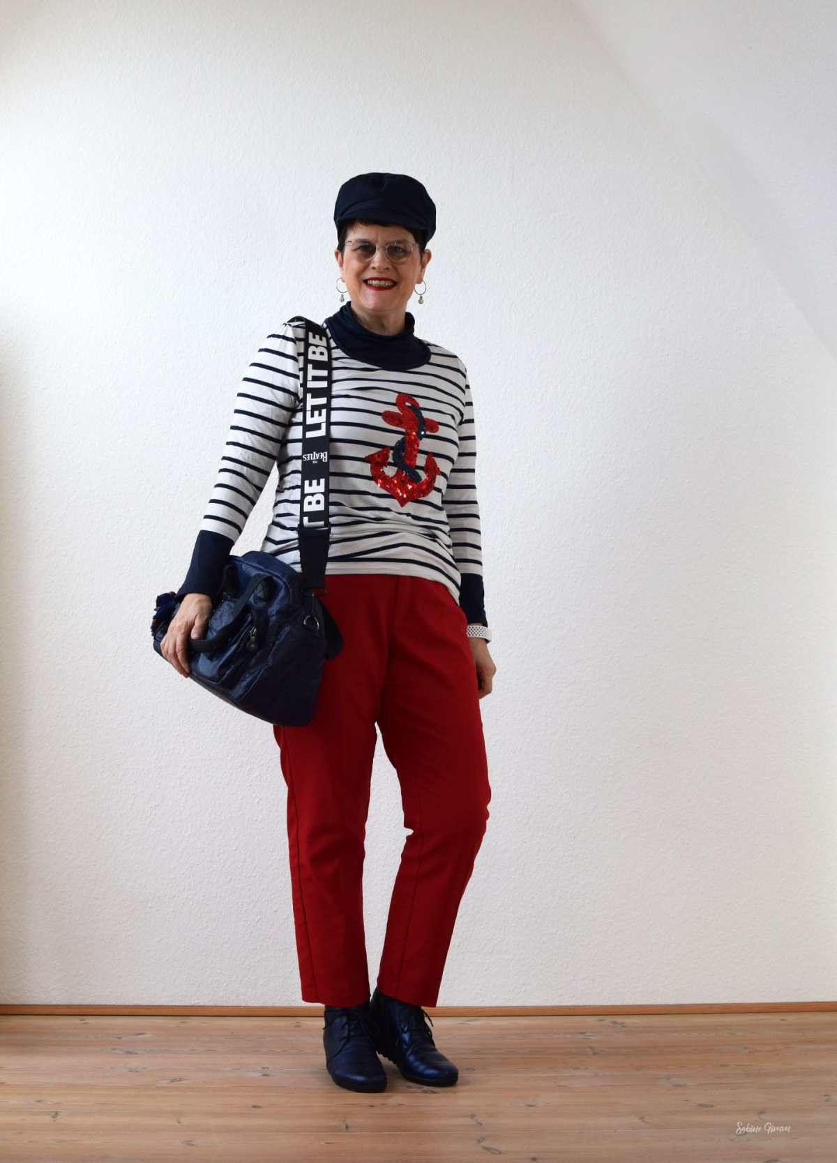 Top of the World OOTD My Fav Sabine in maritime pants with top outfit with pops of red