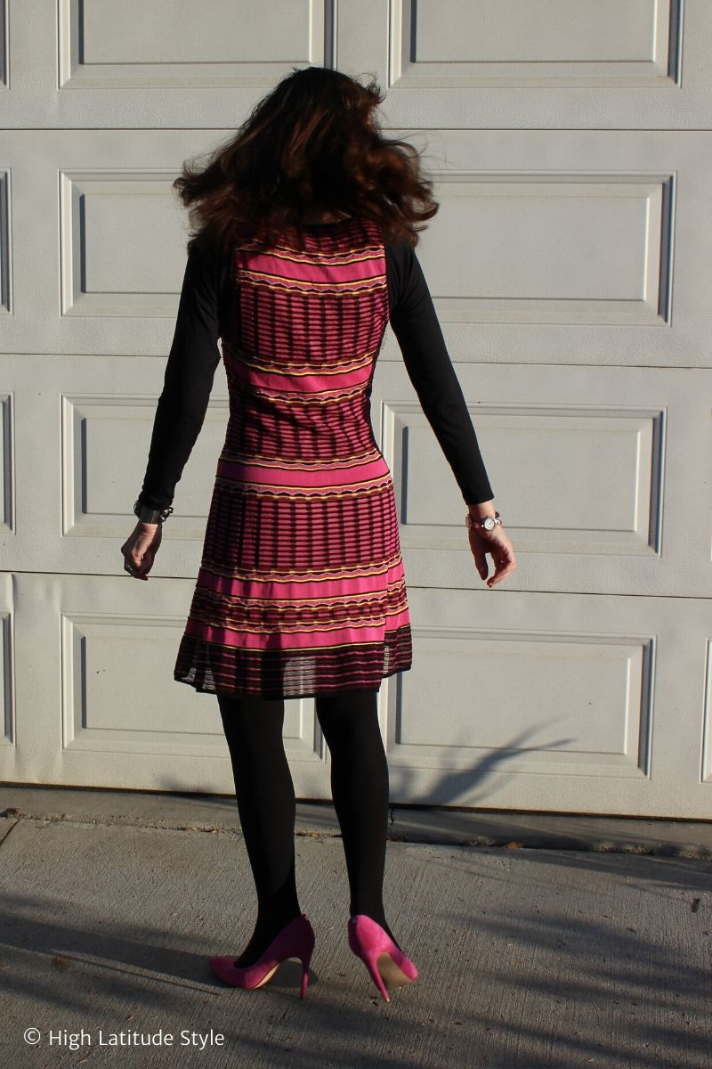 Nicole of High Latitude Style in Missoni dress