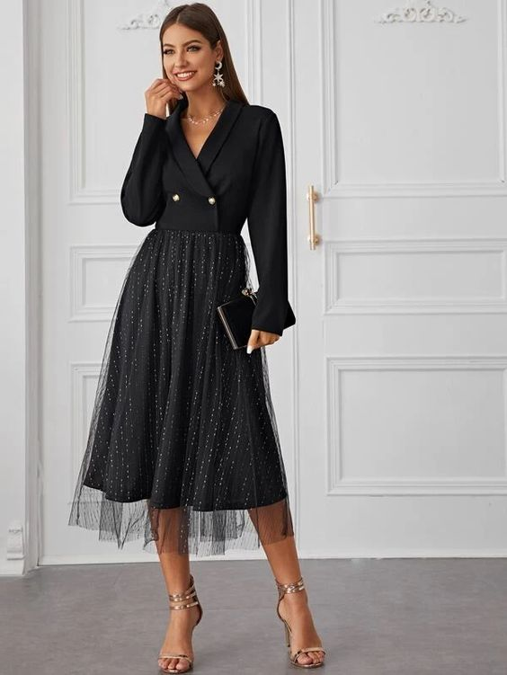 Shein shawl collar double breasted dress with glitter overlay