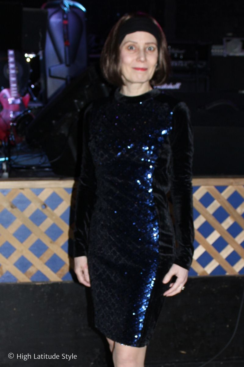 woman in sequin dres as an example for what to wear on New Years Eve