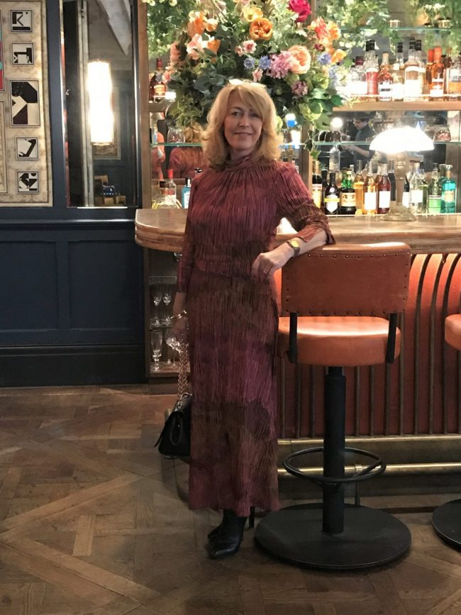 Top of the World Style Winner Laurie of Vanity and Me in a festive maxi dress