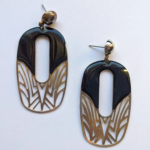 Art Deco inspired dangling earrings
