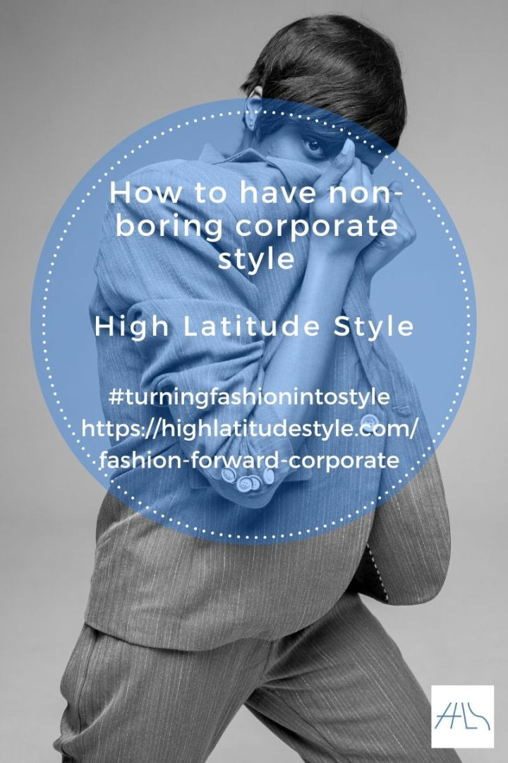 post logo how to have non-boring corporate style showing a wmon in gray suit