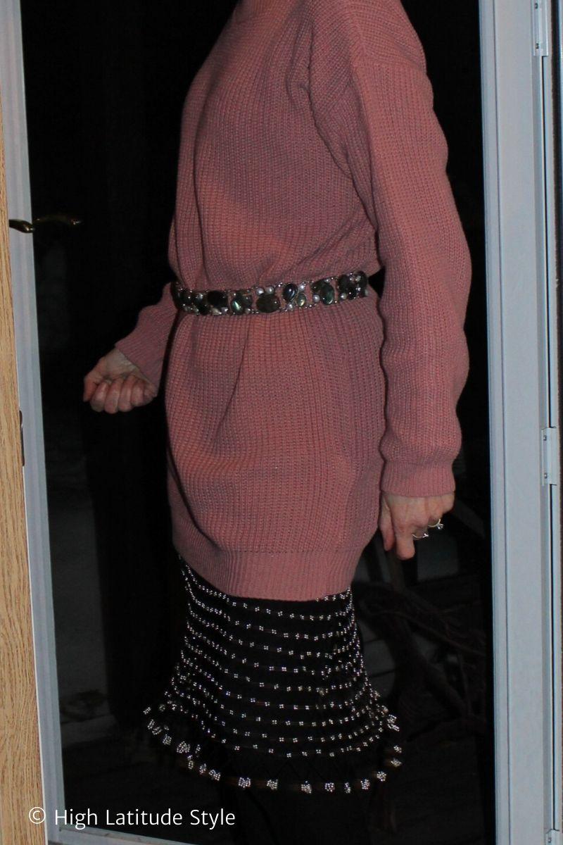 details of labradorite and pearls belt, mesh slip, sweaterdress