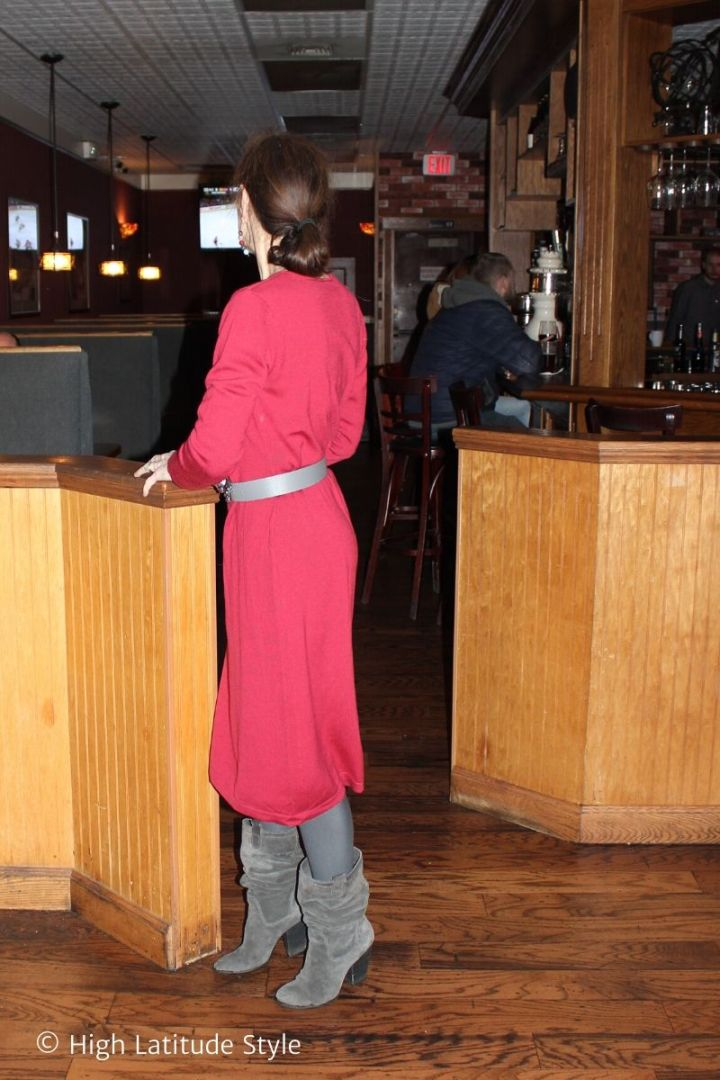 stylist in LRD with gray belt, tights, slouchy boots