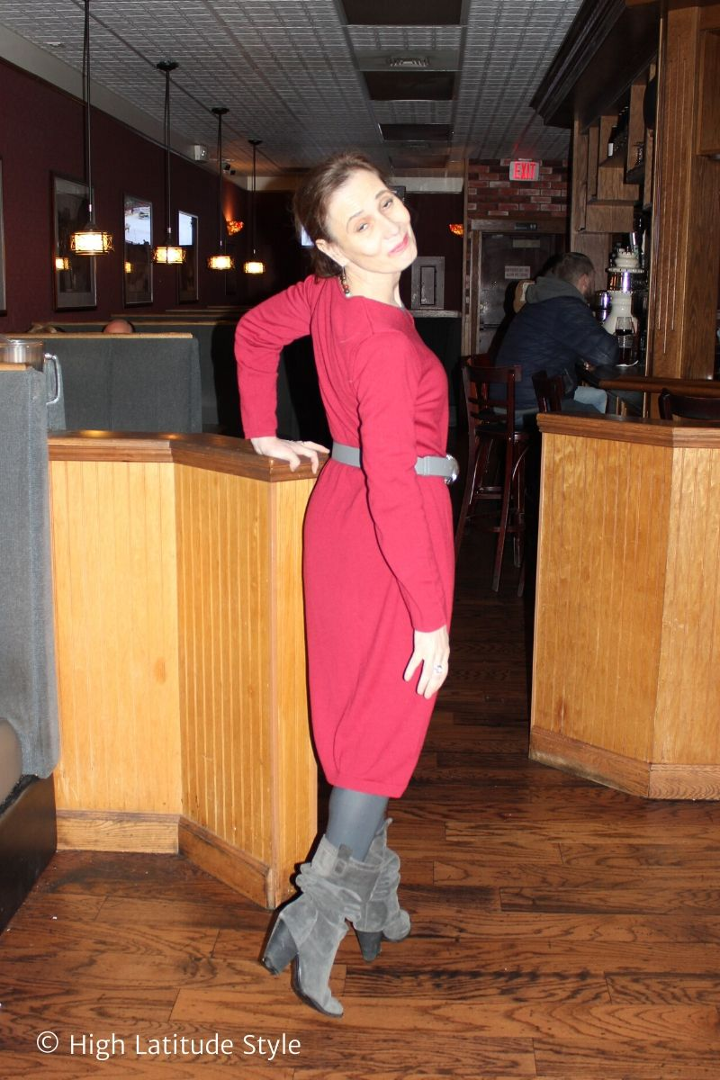 over 50 years old fashion blogger in cherry midi dress