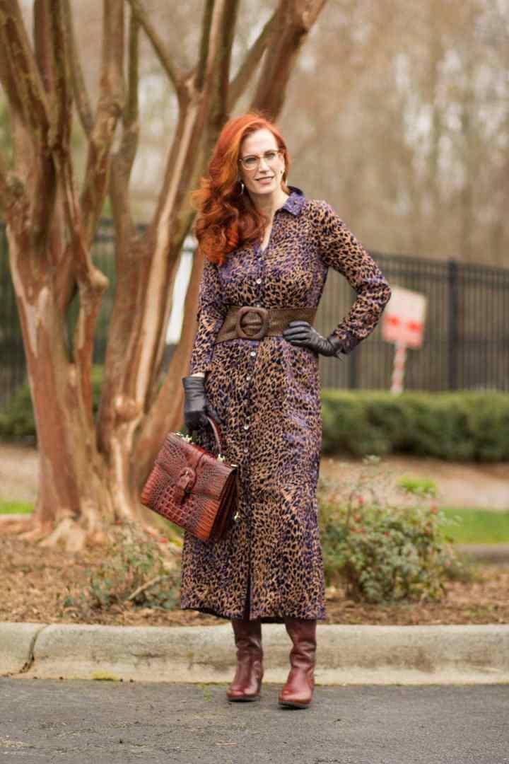 Top of the World Style Winner Jess in midi leopard shirt dress, brown boots bag, belt, black gloves