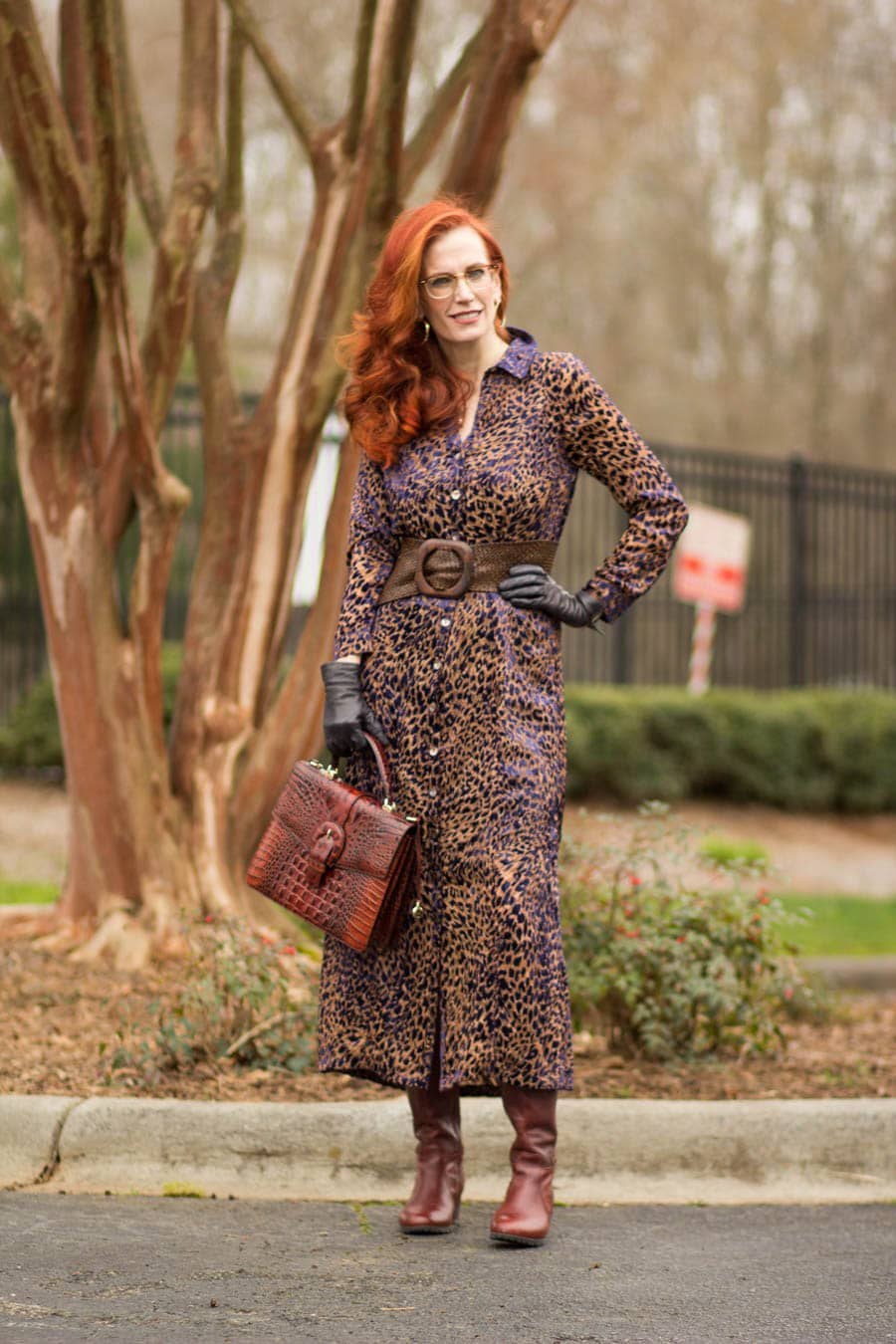 Top of the World Style Winner Jess in midi leopard shirt dress, brown boots bag, belt, black gloves