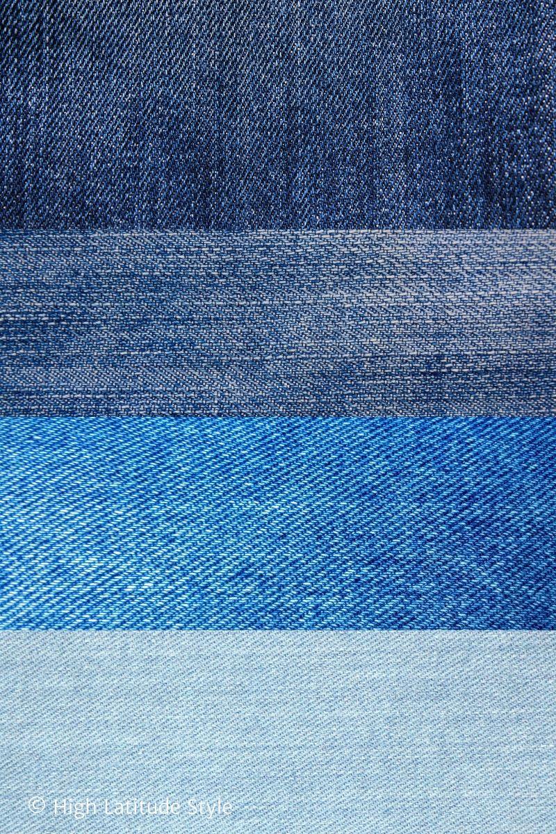 different wash of indigo dyed denim