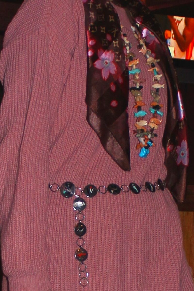 accessories carved gemstone necklace, inlay belt LV scarf