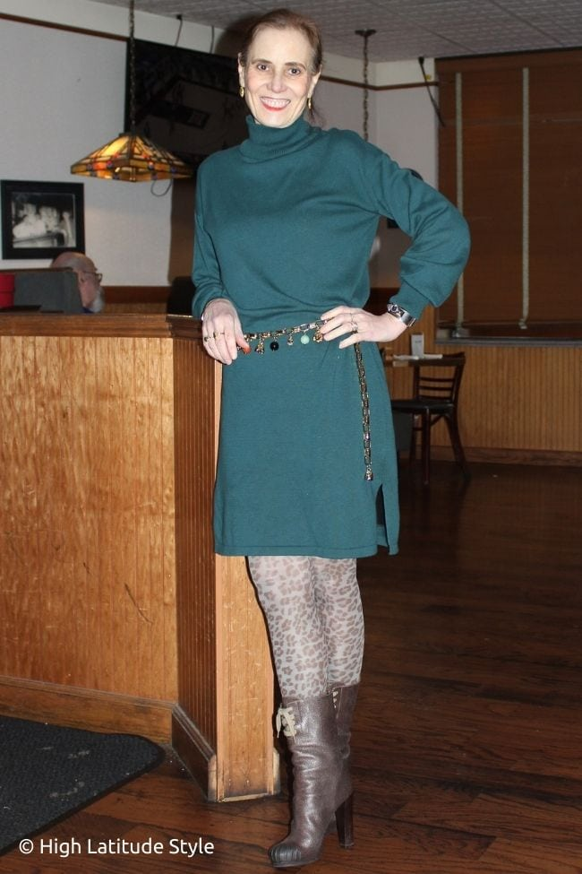 style blogger in teal sweater dress, leopard print tights