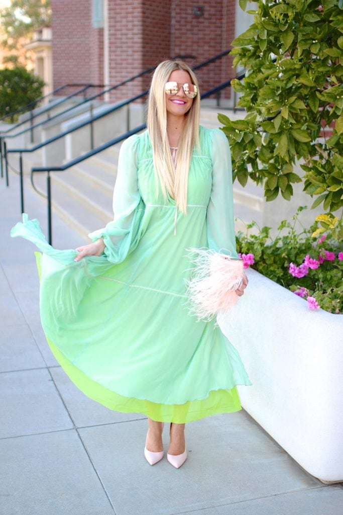 Top of the World OOTD My Fav Shauna in lime and mint chiffon dress