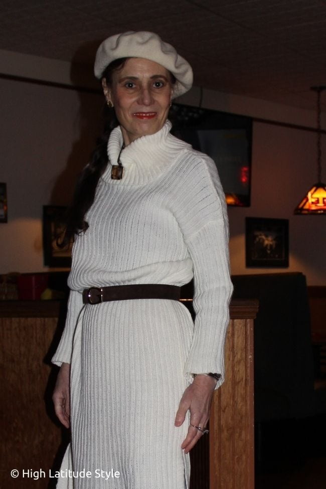 fashion blogger in white dress with brown accessories