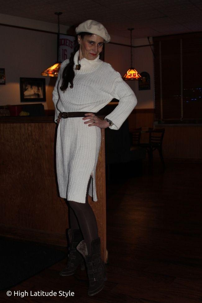 stilist in winterwhite rib kinit midi dress with beret