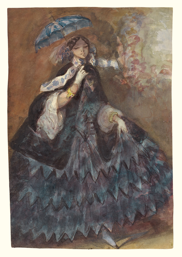 woman in crinoline and umbrella painting by C. Guys