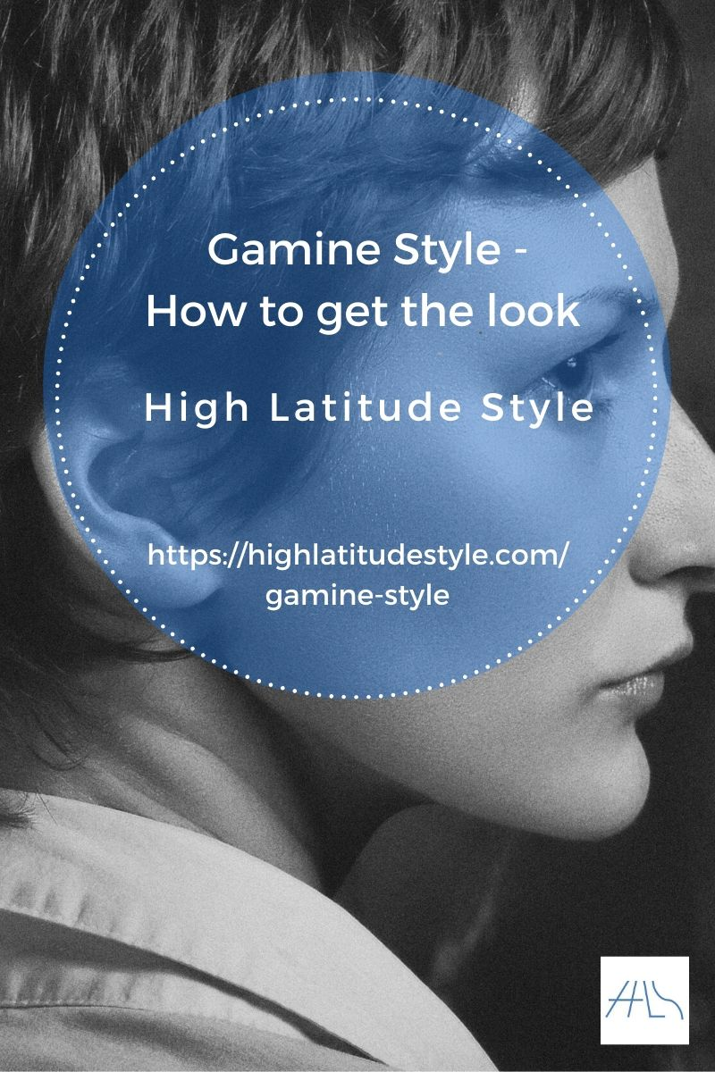post banner for gamine style featuring a woman with pixie and white shirt