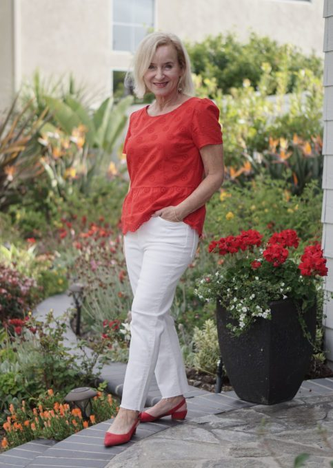Top of the World Style Winner Darlene in rost top, slingbacks and white denim pants