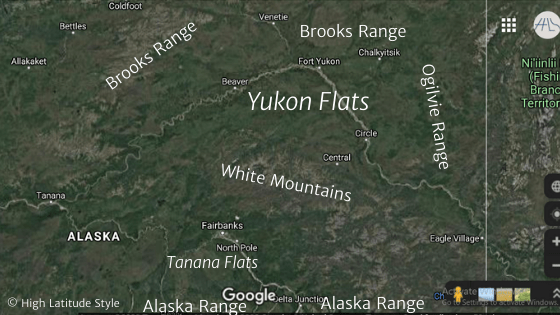 Google map satellite map of the Yukon and Tanana Flats