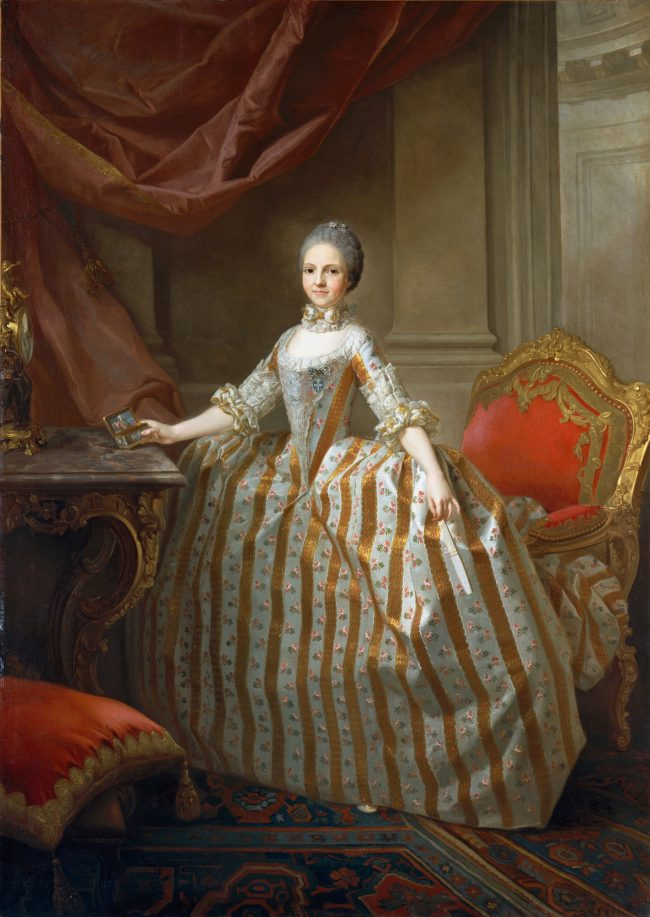 Maria Luisa of Parma, Queen of Spain, 1765, by Laurent Pécheux in a striped crinoline dress